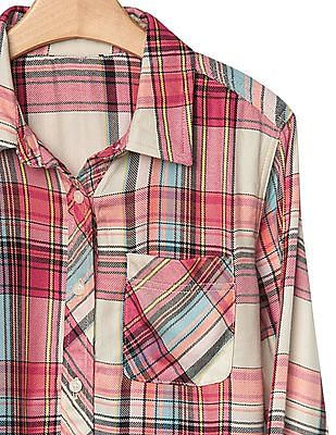 GAP Girls Pink Plaid Twill Pocket Shirt