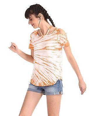 Aeropostale Orange Cold Shoulder Dyed Top