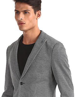 Arrow Grey Peak Lapel Collar Patterned Blazer