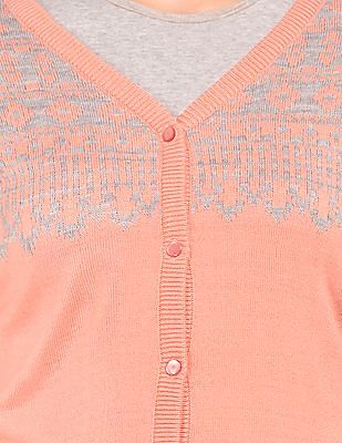 Cherokee Patterned Front V-Neck Cardigan