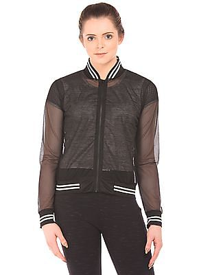 Flying Machine Women Mesh Bomber Jacket