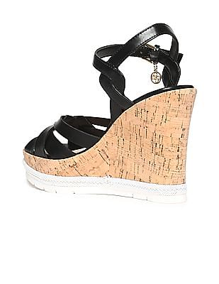 GUESS Crossover Strap Cork Finish Wedges