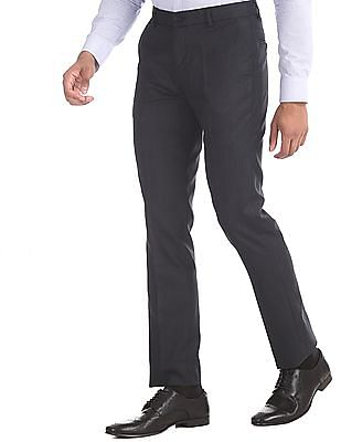 Excalibur Navy Slim Fit Patterned Weave Trousers