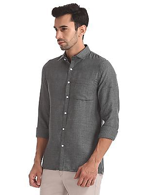Excalibur Long Sleeve Houndstooth Pattern Shirt
