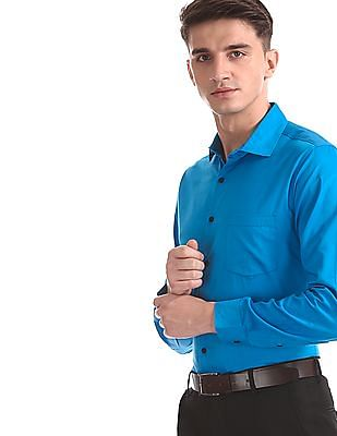 Excalibur Blue French Placket Solid Shirt