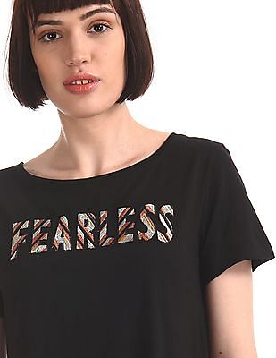 SUGR Black Embroidered Front Raw Hem Top