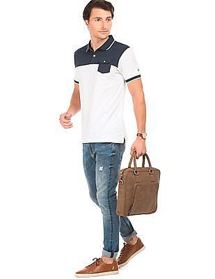 Izod Colour Blocked Cotton Polo Shirt