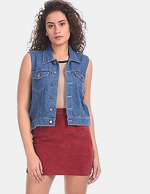 Cherokee Women Blue Sleeveless Denim Jacket
