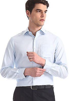 Arrow Blue Patterned Giza Cotton Shirt