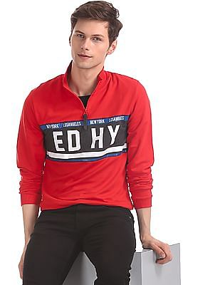 Ed Hardy Red Zip Collar Panelled Sweatshirt