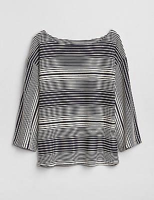 GAP Long Sleeve Knit Stripe Boatneck Top