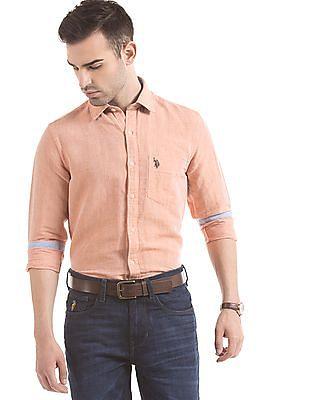 U.S. Polo Assn. Tailored Fit Linen Cotton Shirt