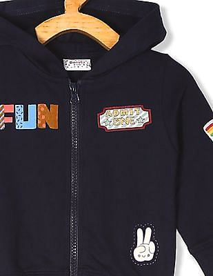 Donuts Blue Boys Allover Patch Hooded Sweatshirt