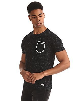 Flying Machine Black Pocket Print Heathered T-Shirt
