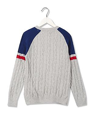 U.S. Polo Assn. Kids Boys Cable Knit Lambswool Sweater