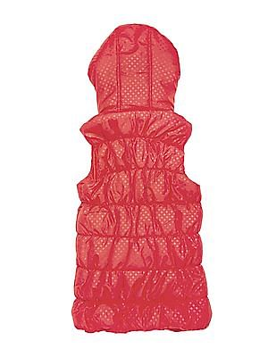 U.S. Polo Assn. Kids Girls Polka Print Hooded Gilet Jacket