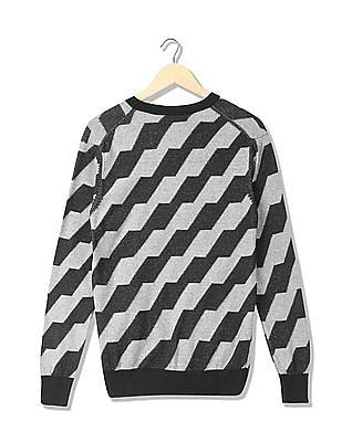 Arrow Newyork Patterned V-Neck Sweater