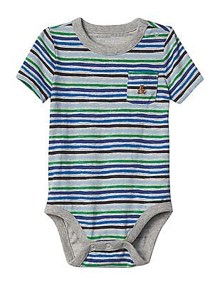 GAP Baby Multi Colour Stripe Short Sleeve Pocket Bodysuit