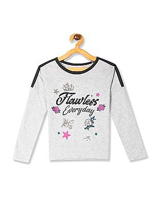 The Children's Place Grey Girls Raglan Sleeve Embellished T-Shirt
