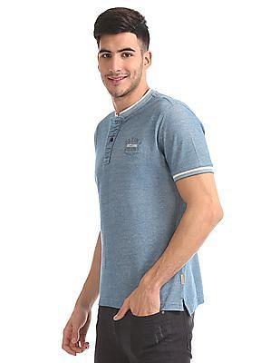 Flying Machine Slim Fit Henley Neck T-Shirt