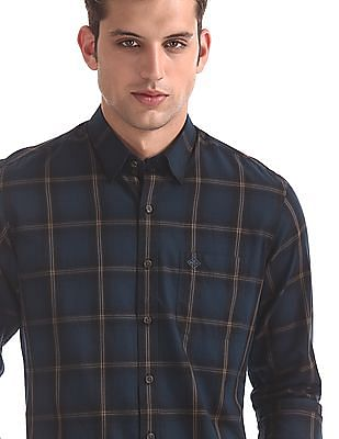 Arrow Sports Blue Concealed Button Down Collar Shirt