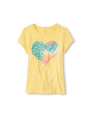 The Children's Place Girls Animal Print Heart Graphic Tee
