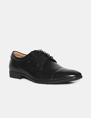 Arrow Black Cap Toe Leather Derby Shoes