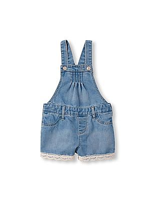 The Children's Place Toddler Girl Cross-Back Crochet-Trim Shortalls