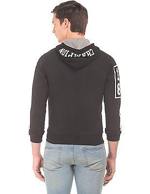 Flying Machine Printed Sleeve Zip Up Sweatshirt