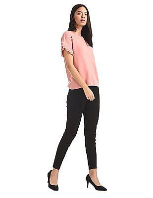 Elle Studio Pink Ruffled Sleeve Solid Top