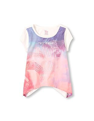 The Children's Place Girls Short Sleeve Graphic Hi-Low Top