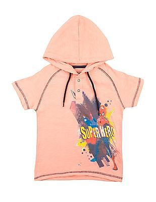 Colt Boys Spiderman Print Hooded T-Shirt