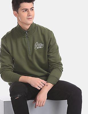 GAP Green Half Zip Logo Sweatshirt