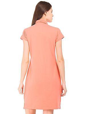 U.S. Polo Assn. Women Solid Polo Collar T-Shirt Dress