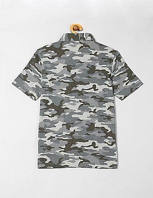GAP Boys Green Jersey Camo Print Polo Shirt