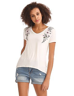 Aeropostale Embroidered V-Neck T-Shirt