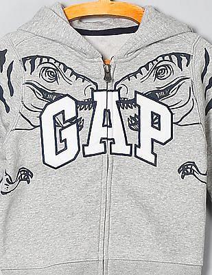 GAP Baby Grey Printed Hooded Sweatshirt