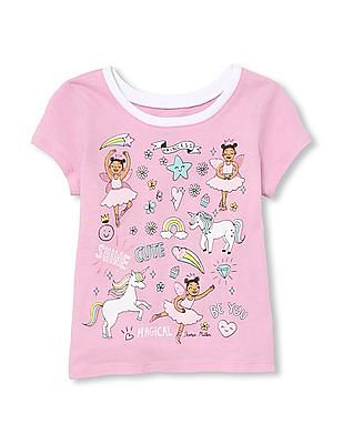 The Children's Place Baby And Toddler Girl Short Sleeve Unicorn Dance Graphic Tee