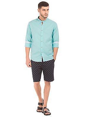 Cherokee Mandarin Collar Cotton Linen Shirt