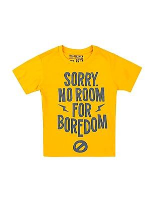 FM Boys Boys Printed Front Cotton T-Shirt