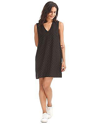 GAP Women Black Sleeveless Metallic Print Shift Dress
