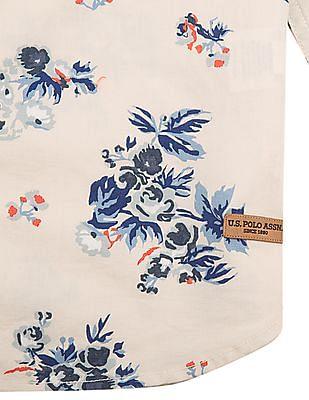 U.S. Polo Assn. Kids Boys Floral Print Regular Fit Shirt