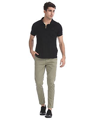 Flying Machine Green Solid Cotton Stretch Trousers
