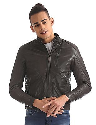 U.S. Polo Assn. Denim Co. Genuine Leather Biker Jacket