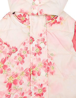 U.S. Polo Assn. Kids Girls Floral Print Quilted Gilet Jacket