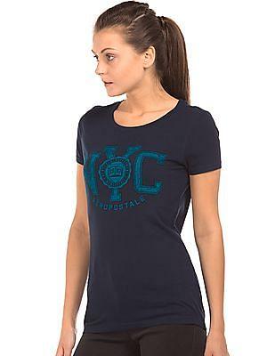 Aeropostale Distressed Print Cotton T-Shirt