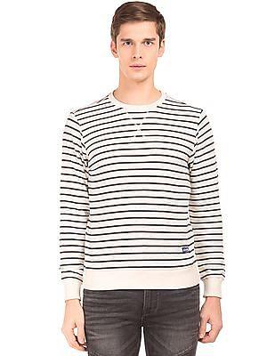 Flying Machine Crew Neck Striped Sweatshirt