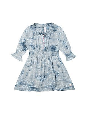 U.S. Polo Assn. Kids Girls Printed Fit And Flare Dress