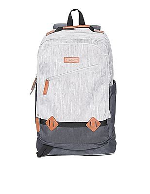 U.S. Polo Assn. Grey Panelled Laptop Backpack