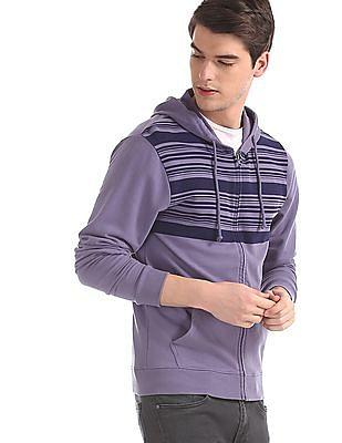 Cherokee Purple Striped Chest Hooded Sweatshirt